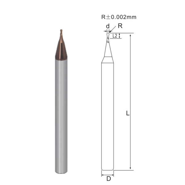 Micro Diameter 2 flutes Ball nose end mill