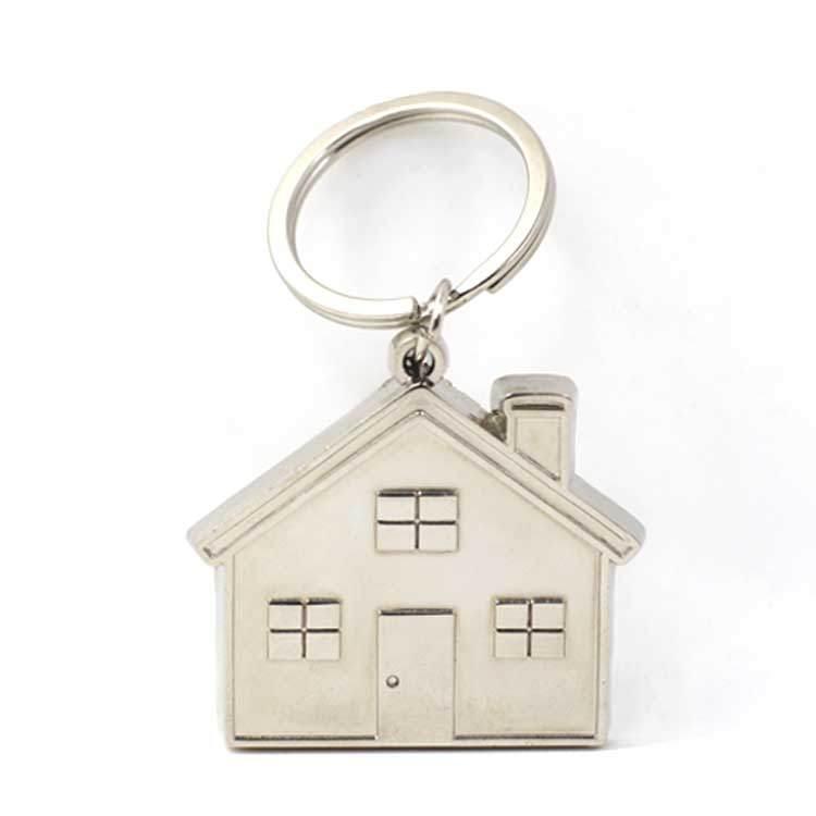 Wholesale Cheap Custom Metal 3D House Shape Keyring, House Shaped Keychain