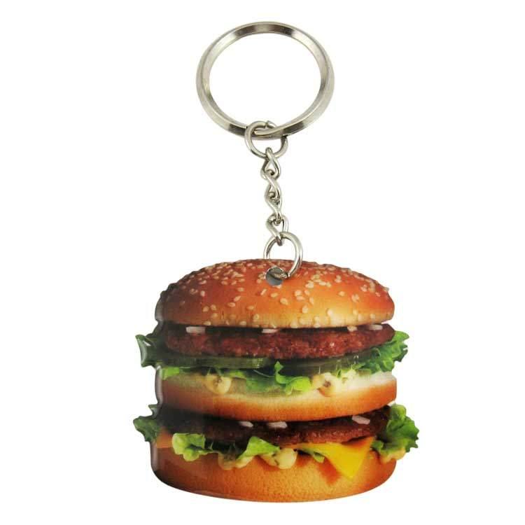 Custom 2D Food Hamburger Keyring, Advertising Hamburger Keychain
