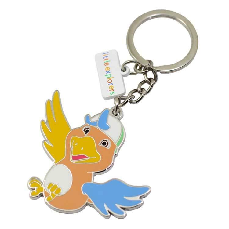 Factory Wholesale Colourful Personalized Custom Hard Enamel Metal Bird Keychain
