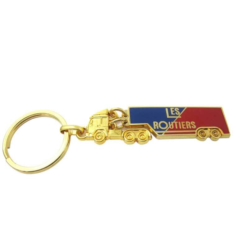 Cheap Custom Meta Gold Soft Enamel 3D Truck Keychain
