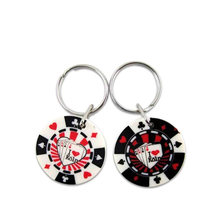 Wholesale Custom Plastic Metal Poker Chip Key Chain from manufacturer in China