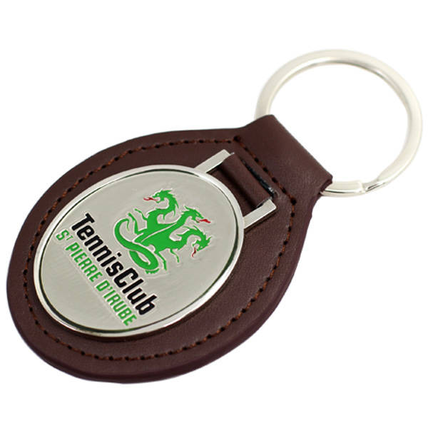 China make custom metal leather keychain