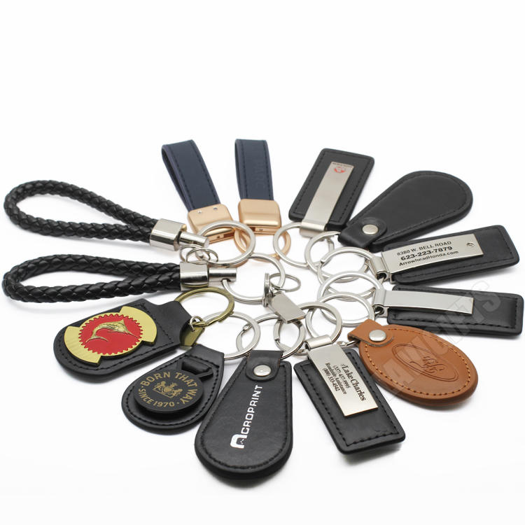 Bulk Handmade Custom PU Leather Car Brand Logo Keychain