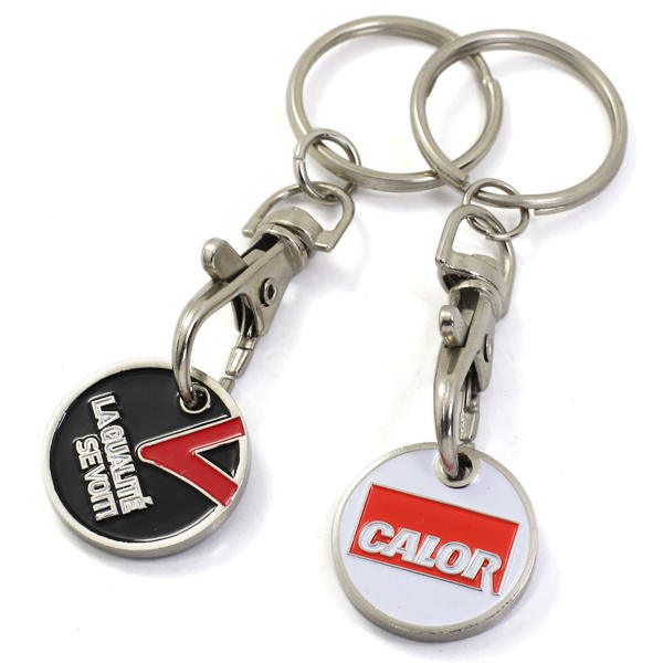 Custom good quality metal shopping trolley coin Keychain