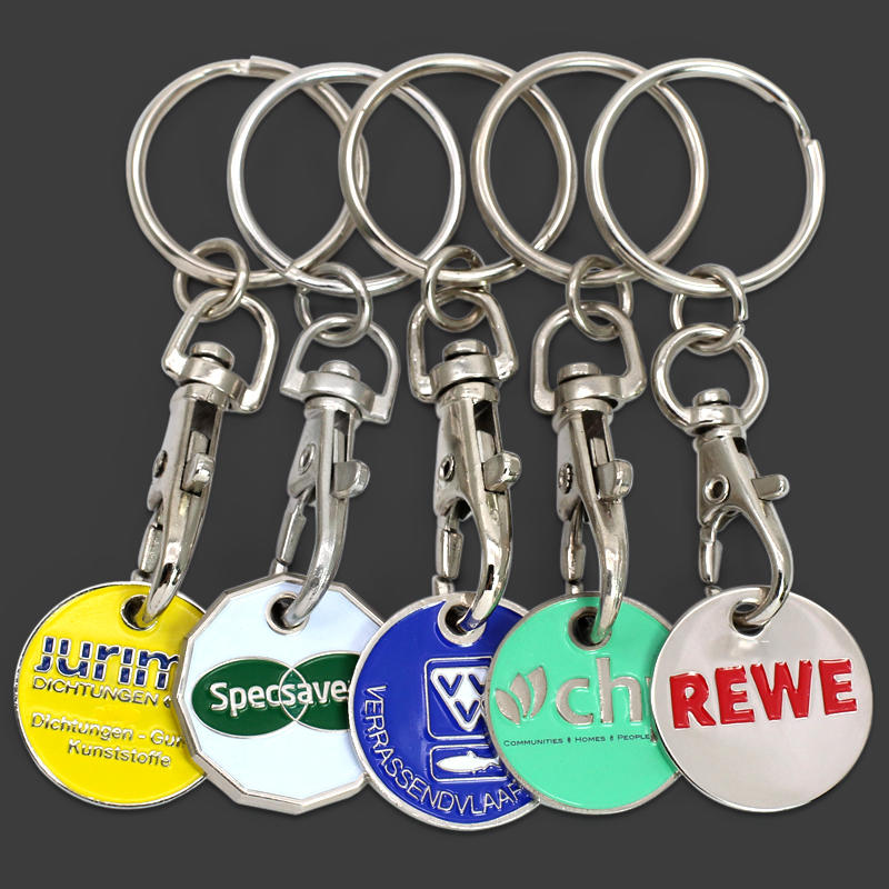 Euro Coin Shopping Trolley Coin Keychain, Euro Shopping Trolley Coin Token