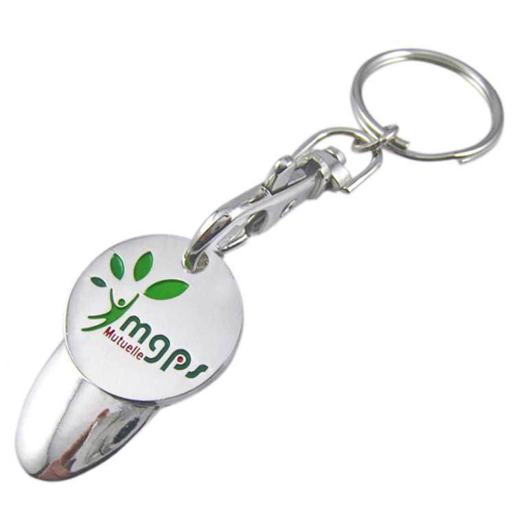 Promotional Custom Metal Caddy Trolley Coin Keychain With Logo