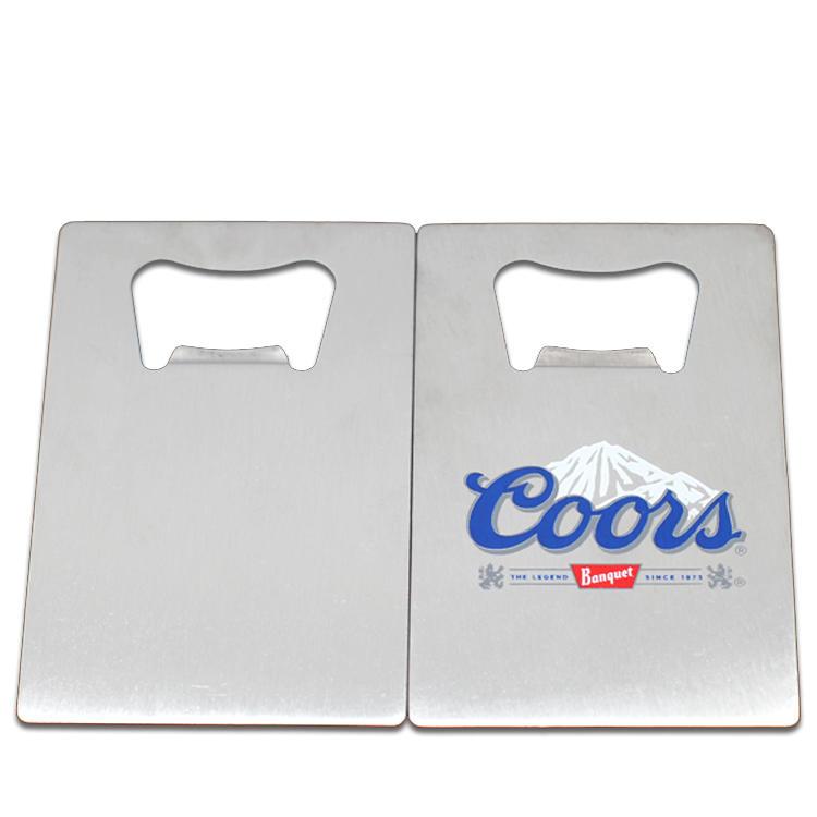 Metal Engraved Logo Stainless Steel Credit Card shaped Beer Bottle Opener