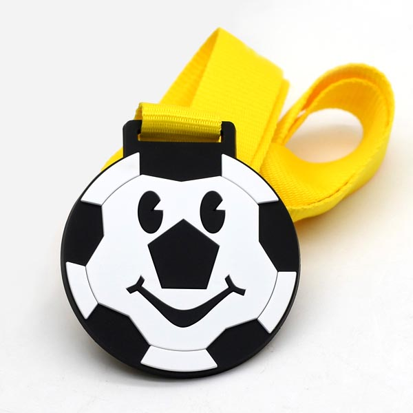 Silicon Rubber Plastic Soft PVC Football Medal For Kids from medal manufactur