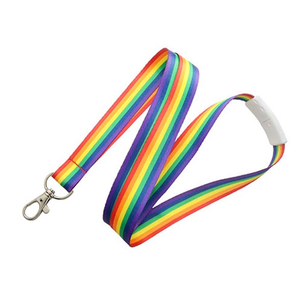 Wholesale Branded Adjustable Rainbow International Flag Carabiner Lanyard
