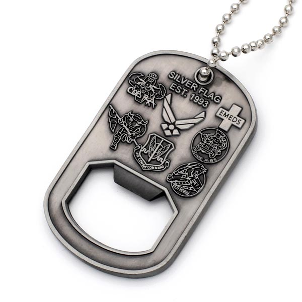 Wholesale Customized metal bottle opener shape dog tags with chain
