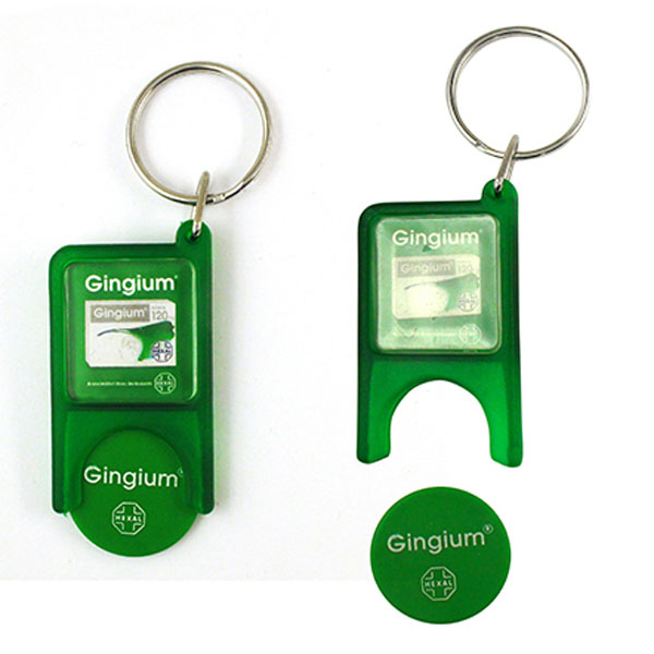 wholesale souvenir custom plastic trolley coin holder keychain