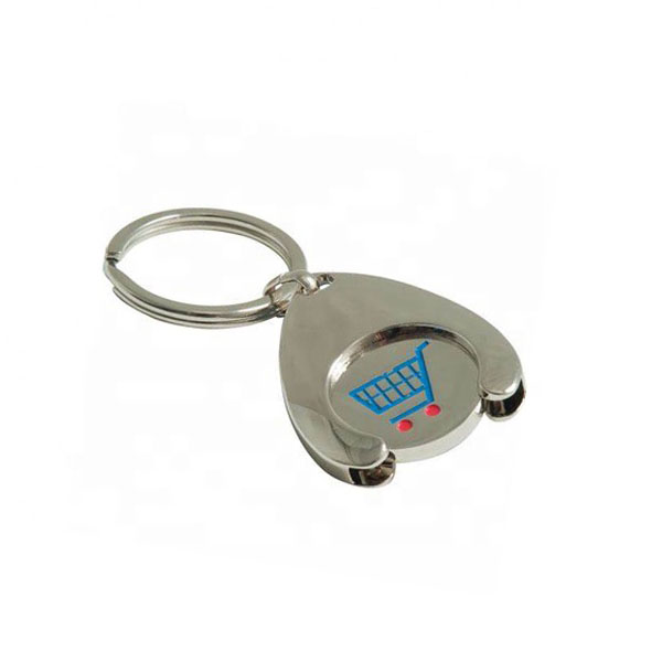 Custom Made Cheap Zinc Alloy Wishbone Trolley Coin Holder Keychain