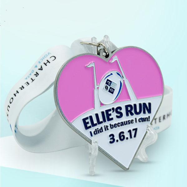 Custom heart shape sport medal run event marathon medal finisher medal