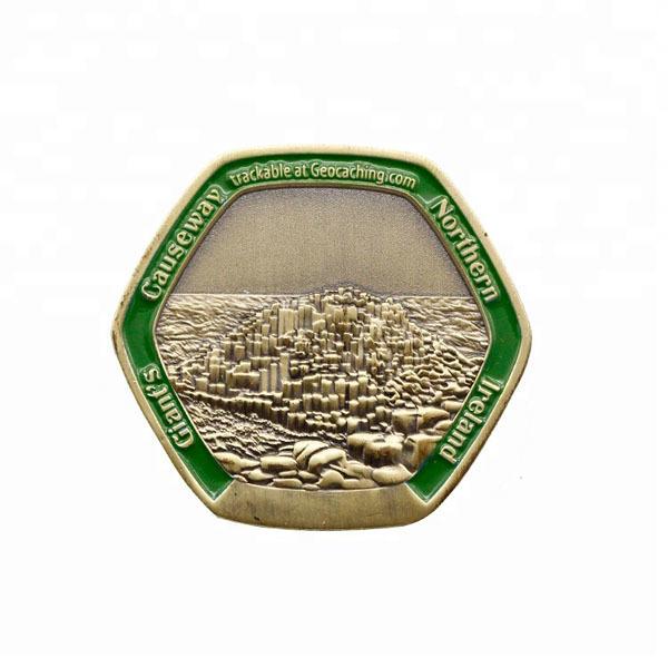 OEM metal challenge coin token 3d antique plated coin Hexagon shape  (1)