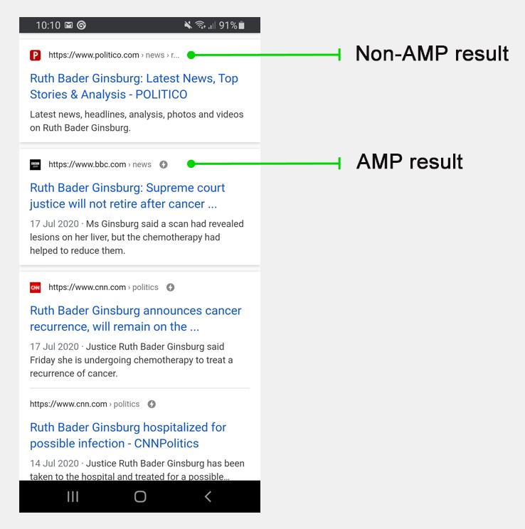 AMP Google搜索结果