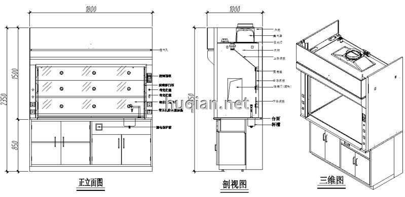 想知道通风柜安装使用方法先要了解通风柜的结构图纸