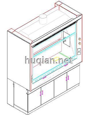 通风柜柜门开启尺寸分解图纸