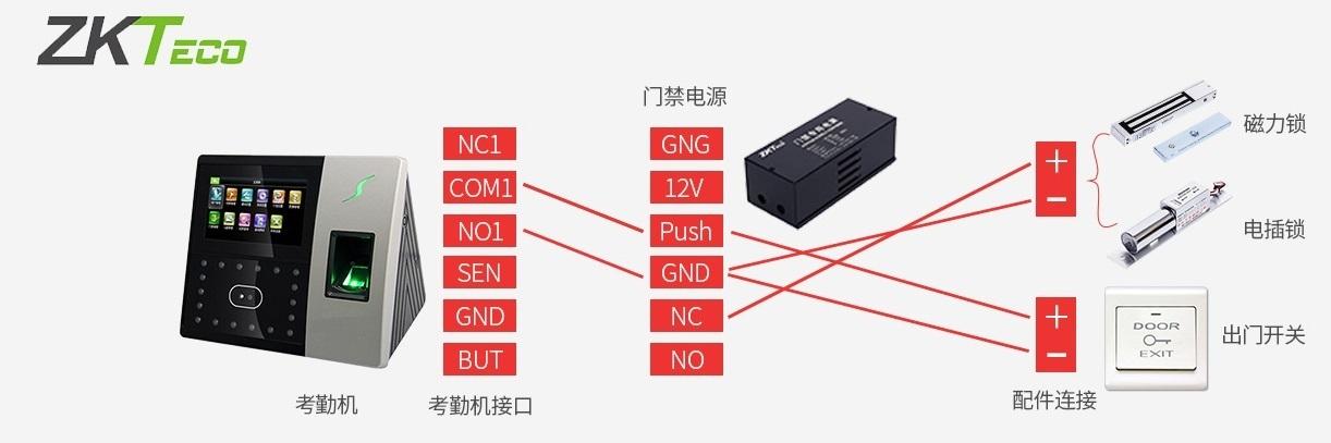 成都中控考勤门禁系统接线图