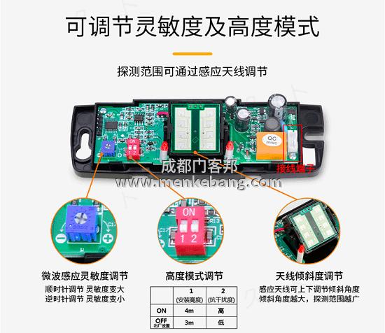 成都自动门感应器,自动感应门感应器,玻璃感应门感应器调节图