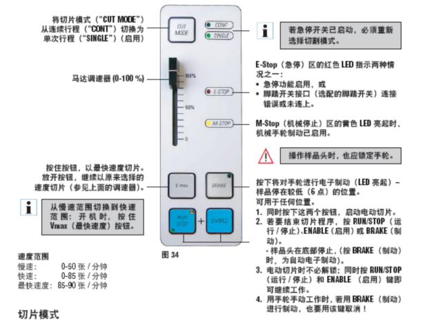徕卡cm1950冰冻切片机左键盘控制面板图示