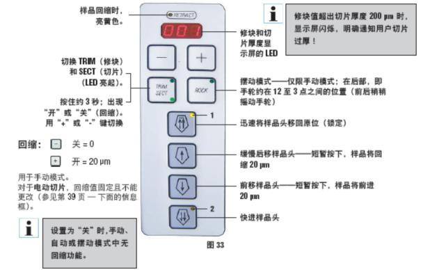 徕卡cm1950冰冻切片机右控制键盘图示