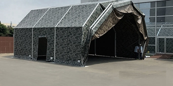 Arched camouflage army tent