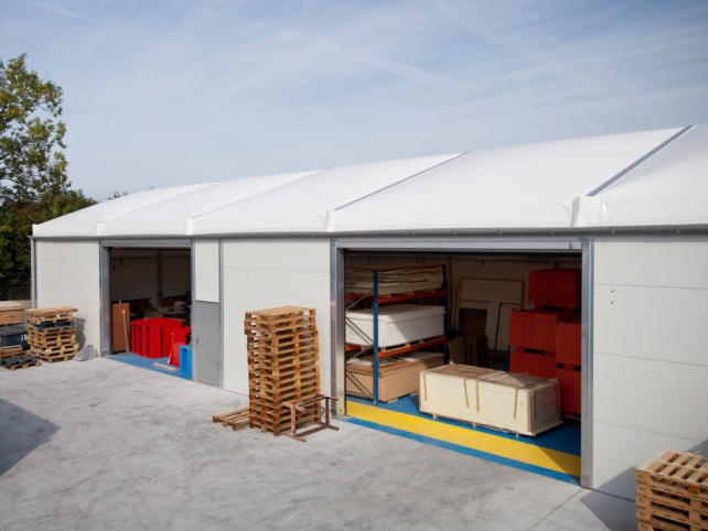 Fire safety equipment warehouse tent