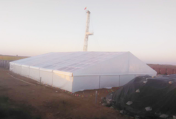 The assembled storage tent can be assembled
