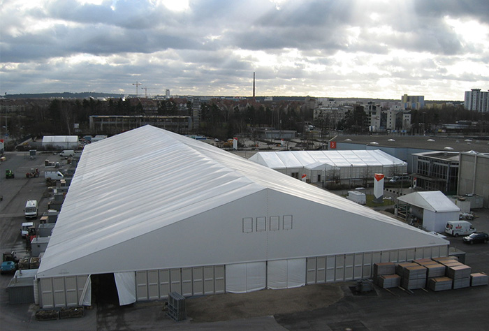 How much is the square meters of the warehouse tent?