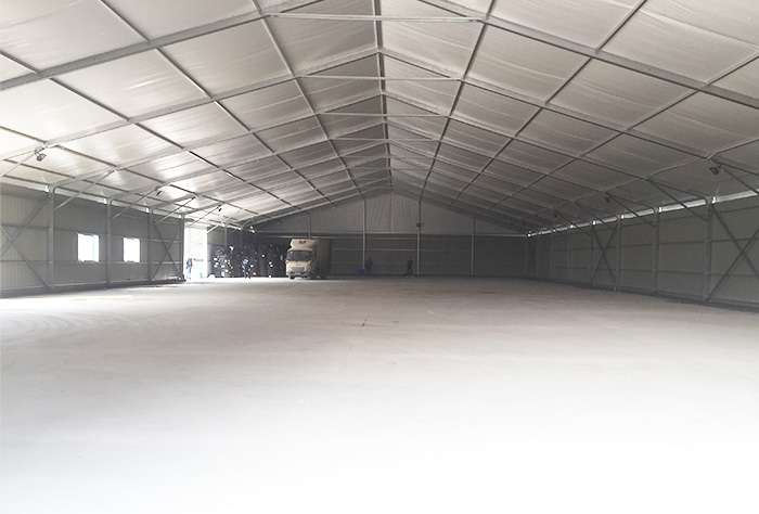 The main structural frame of the warehouse tent