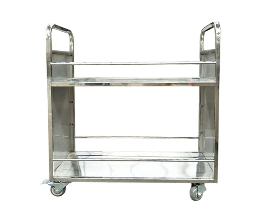 不锈钢两层平板书车