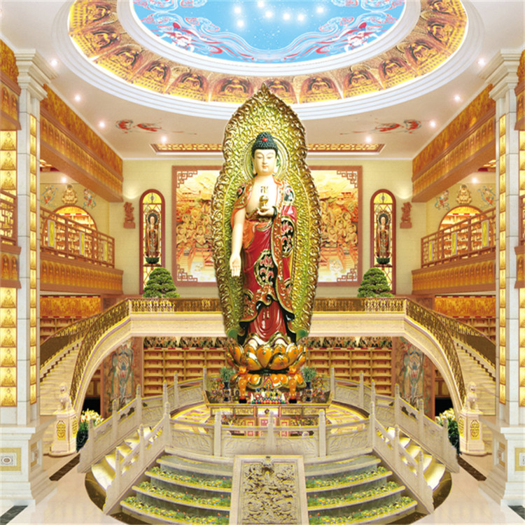 农村公益寺庙工程佛像三层家族式骨灰寄存架售价