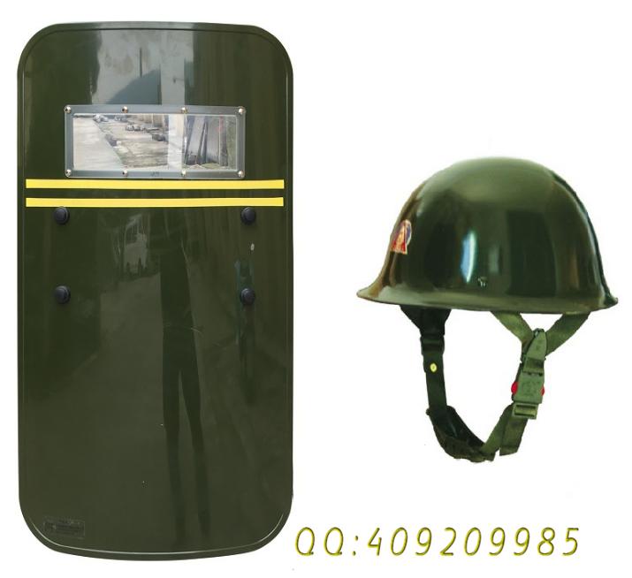 PC防爆盾牌 军绿色防身盾牌 保安头盔