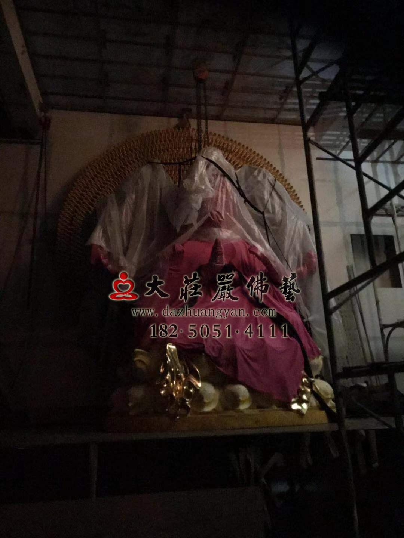 澎湖马公市潮音寺铜雕千手观音整体安装完毕