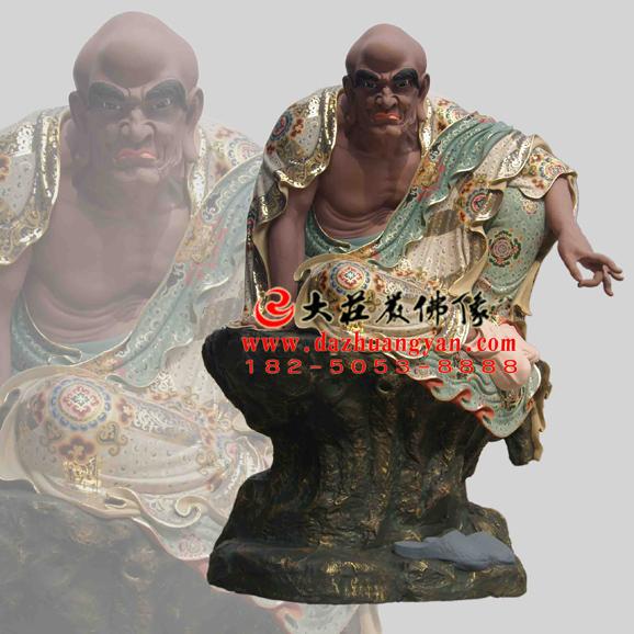 铜雕因竭陀尊者彩绘塑像
