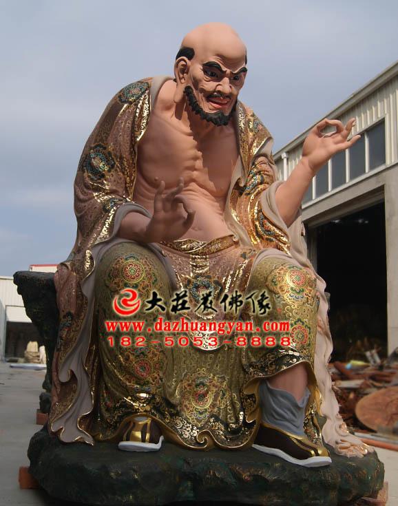 宾度罗跋罗哆尊者彩绘侧面塑像