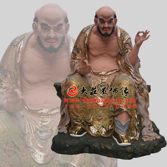 铜雕宾度罗跋罗哆尊者彩绘塑像