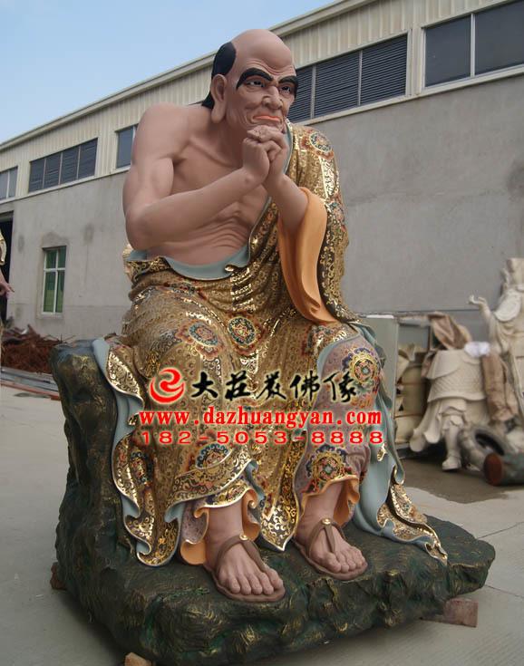 跋陀罗尊者彩绘塑像