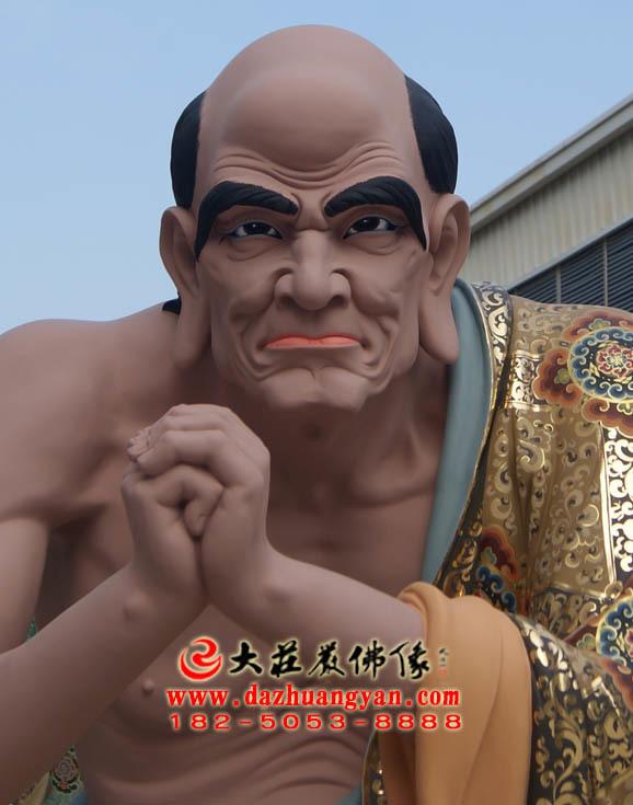铜雕跋陀罗尊者彩绘塑像正面近照