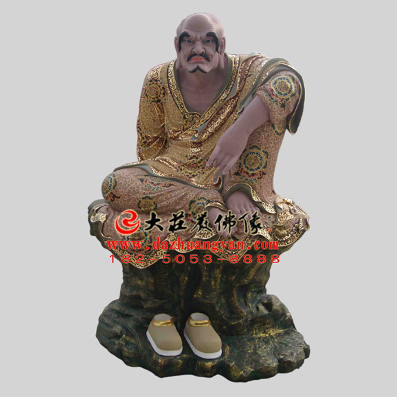 罗怙罗尊者彩绘塑像