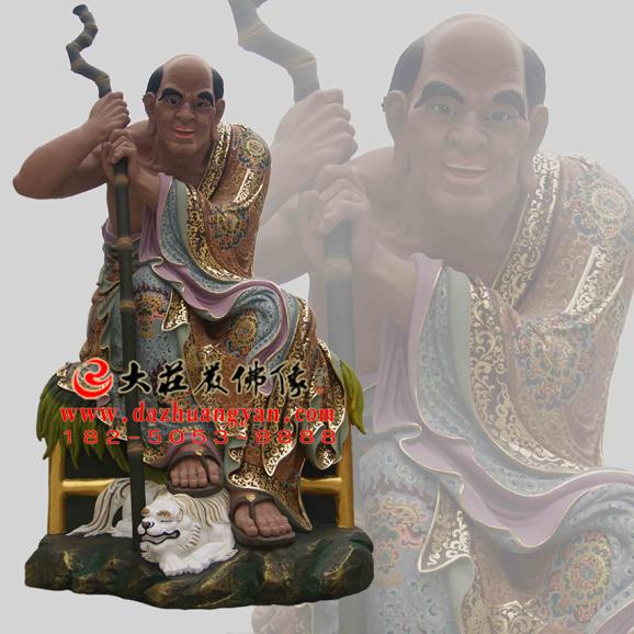 铜雕罗汉伐阇罗弗多罗彩绘塑像