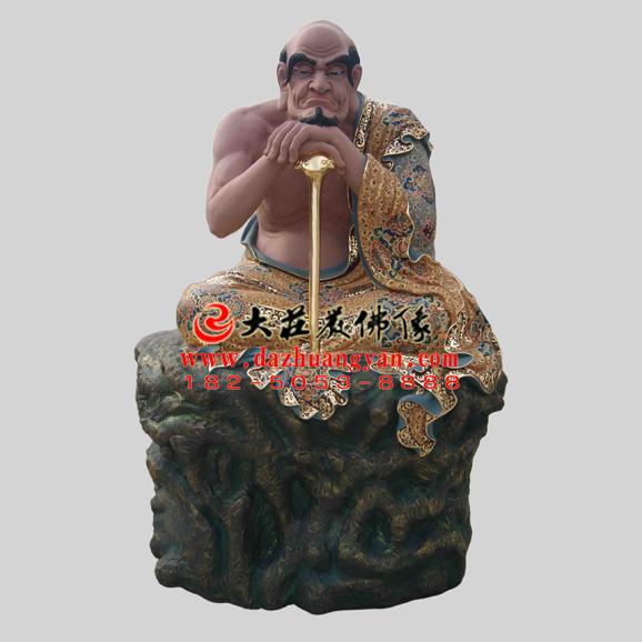 铜雕注茶半托迦尊者彩绘塑像