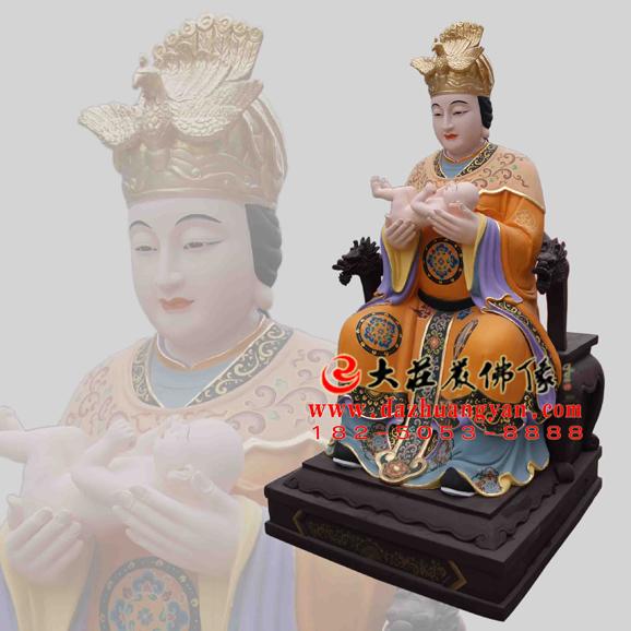 铜雕催生娘娘彩绘神像