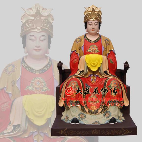 铜雕后土娘娘彩绘神像