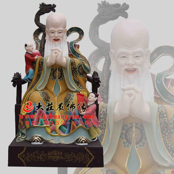 铜雕寿星彩绘神像