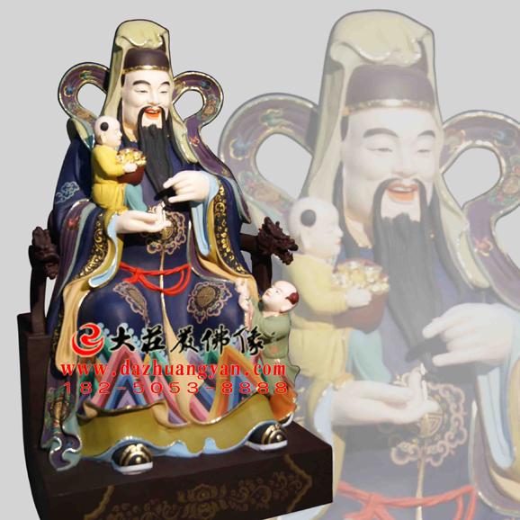 铜雕福禄寿三星彩绘神像