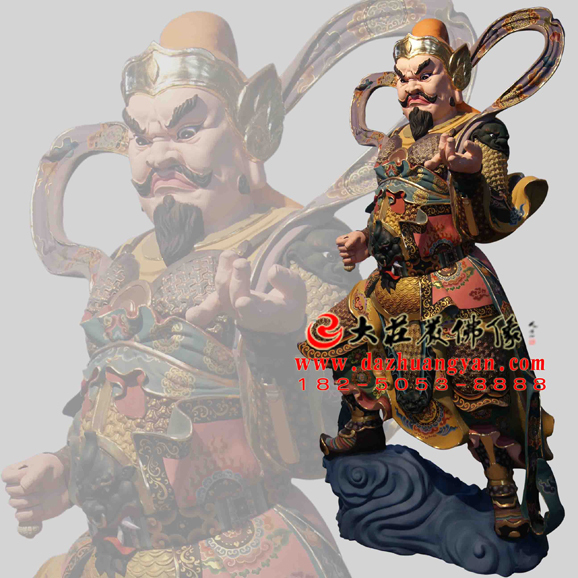 铜雕脱胎李天王彩绘神像