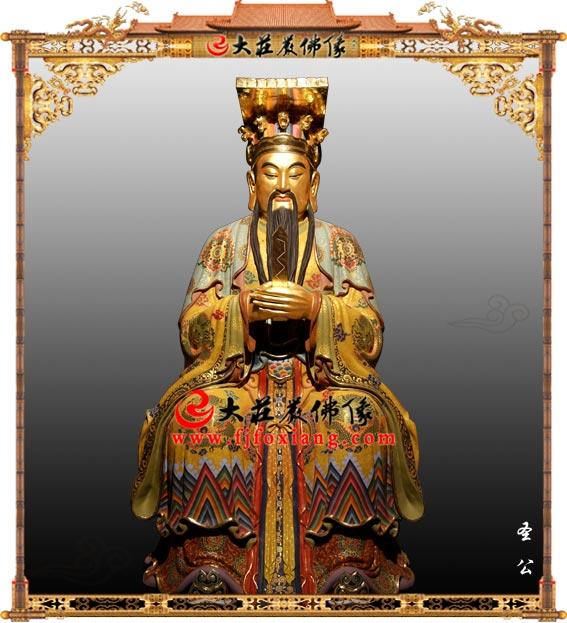 铜雕圣公彩绘贴金神像