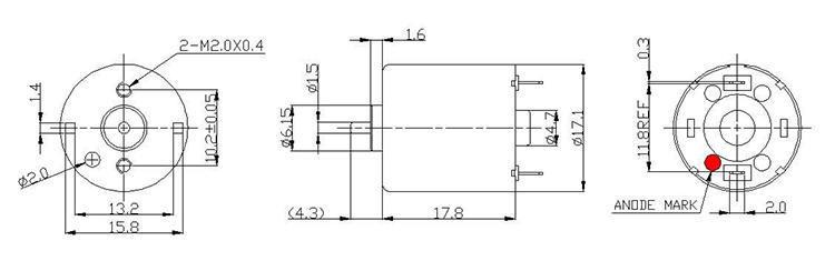 永磁直流有刷电机外形尺寸